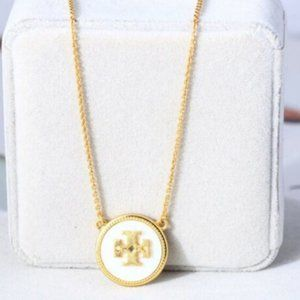 NEW Tory Burch Enameled Gold Circle Logo Necklace